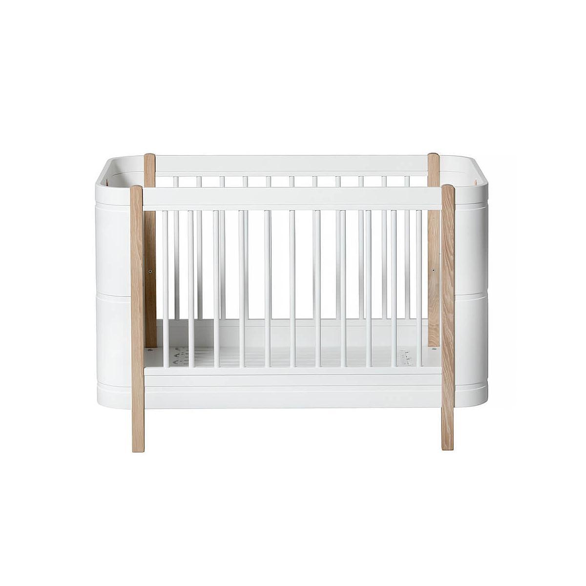 Lit bébé évolutif 68x122cm/162cm MINI+ WOOD Oliver Furniture blanc-chêne