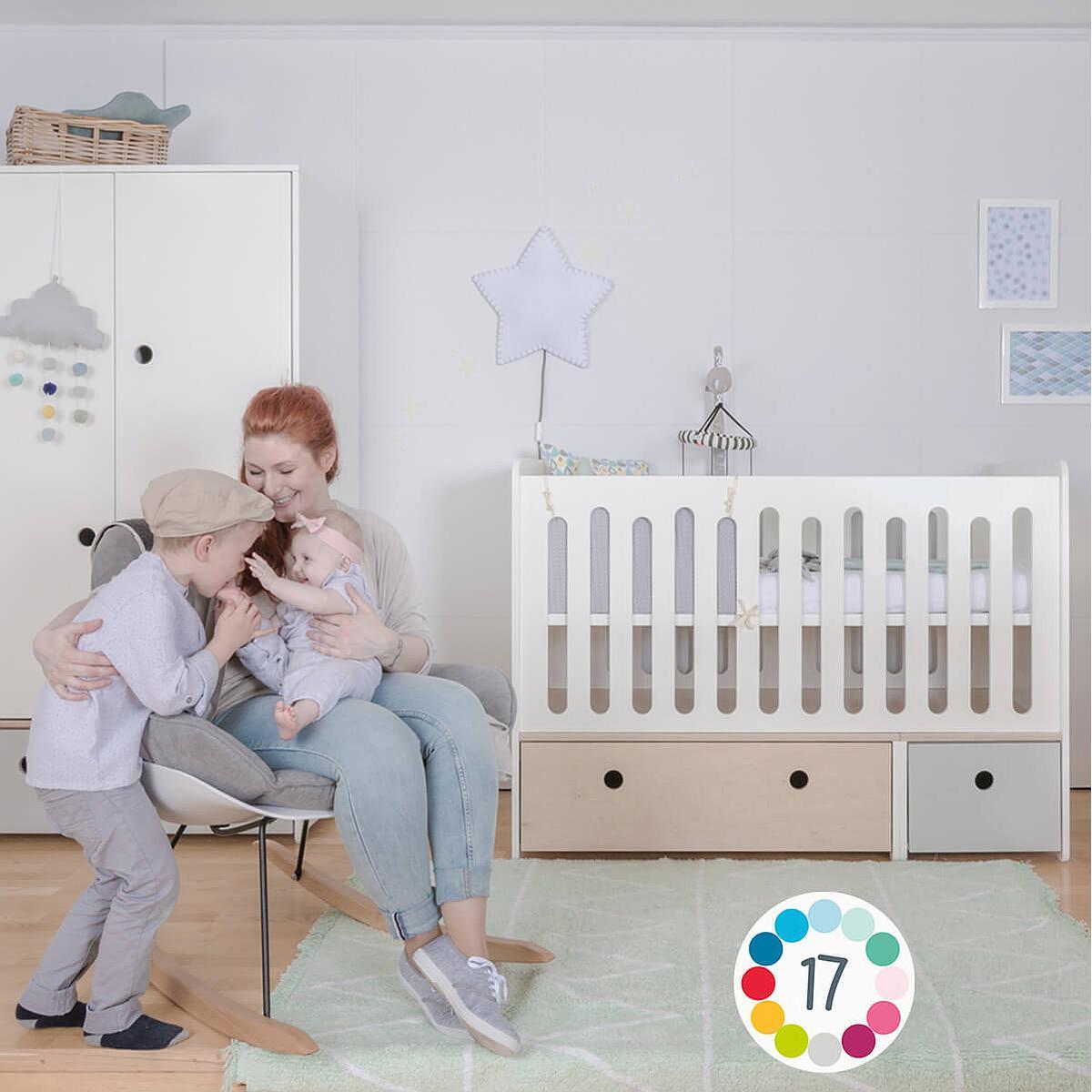 Lit bébé évolutif 70x140cm COLORFLEX Abitare Kids white wash-mint
