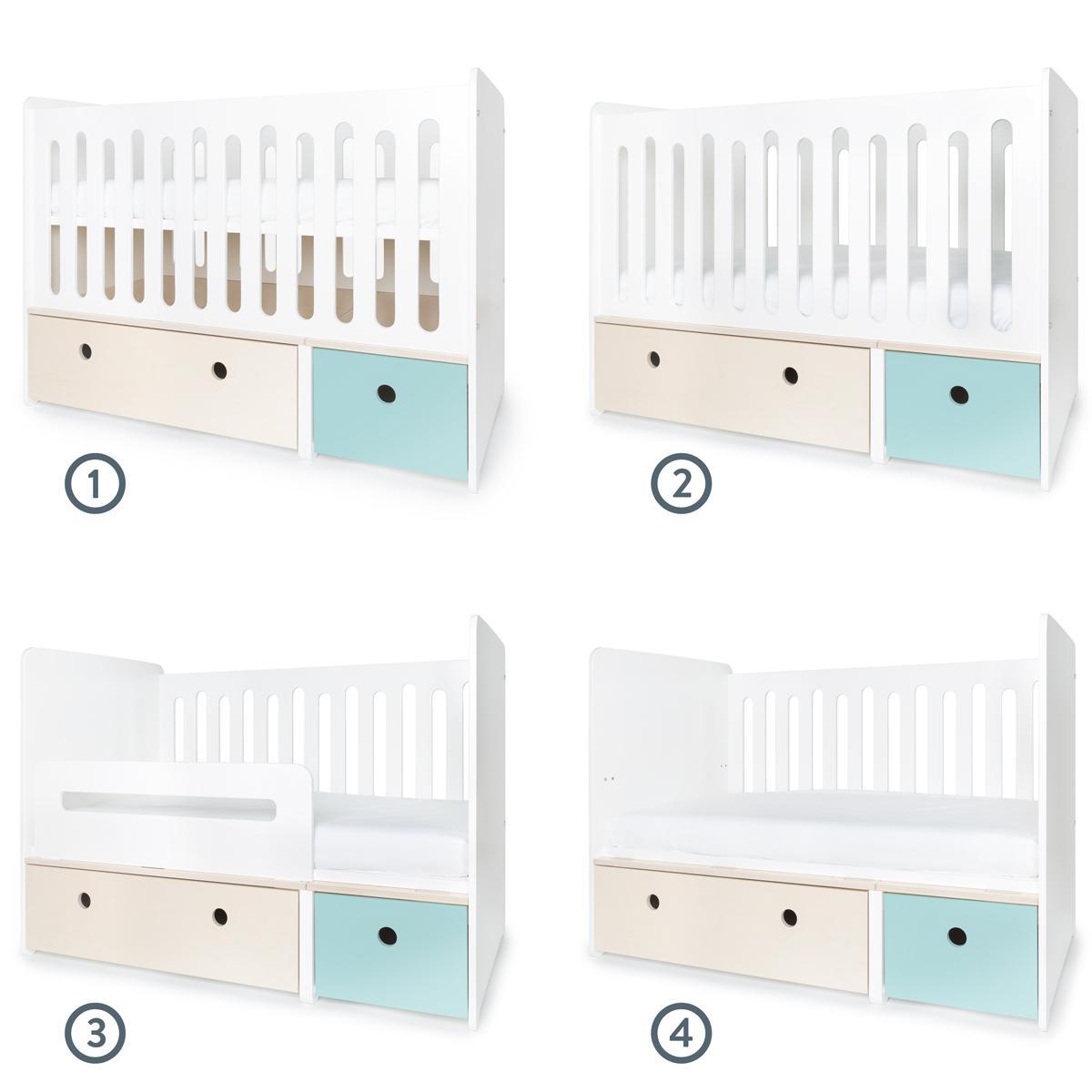 Lit bébé évolutif 70x140cm COLORFLEX façades sky blue-white wash