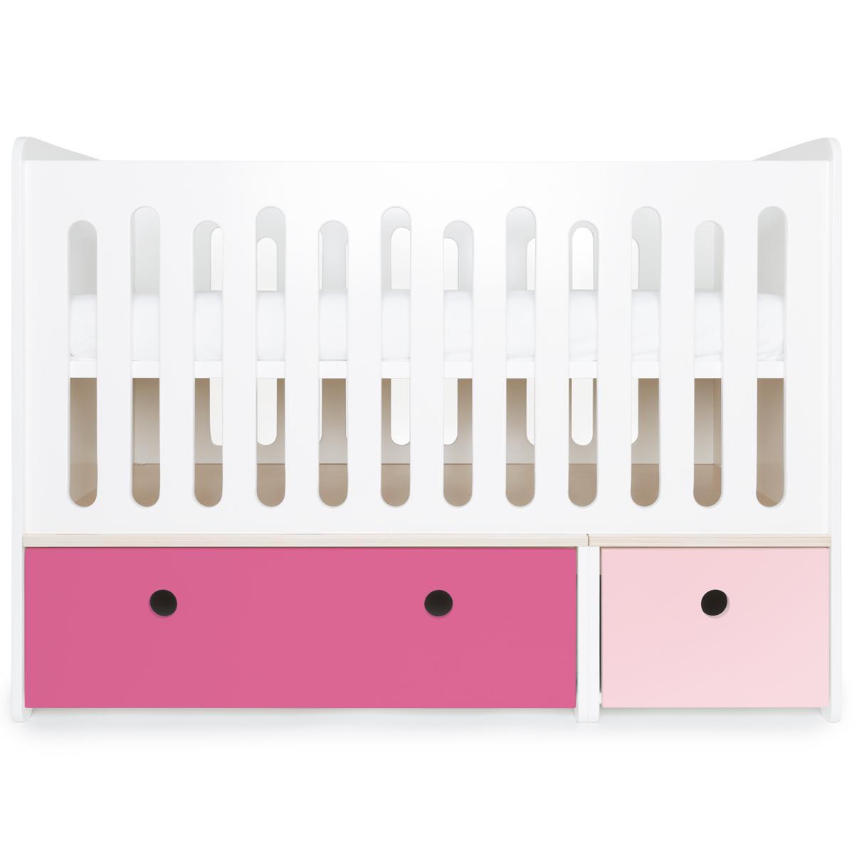 Lit bébé évolutif 70x140cm COLORFLEX façades sweet pink-pink
