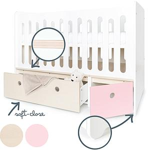 Lit bébé évolutif 70x140cm COLORFLEX façades sweet pink-white wash