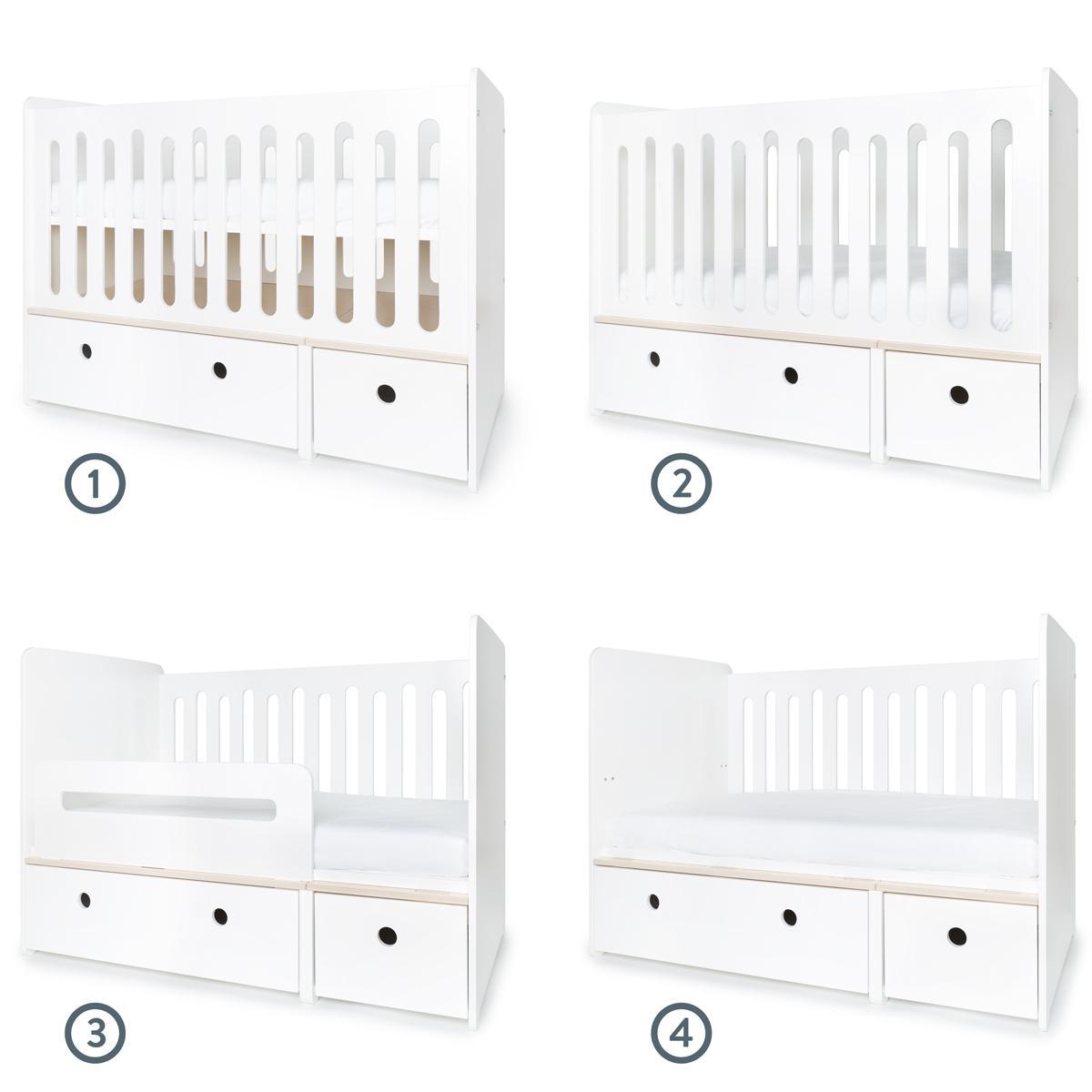Lit bébé évolutif 70x140cm COLORFLEX façades white
