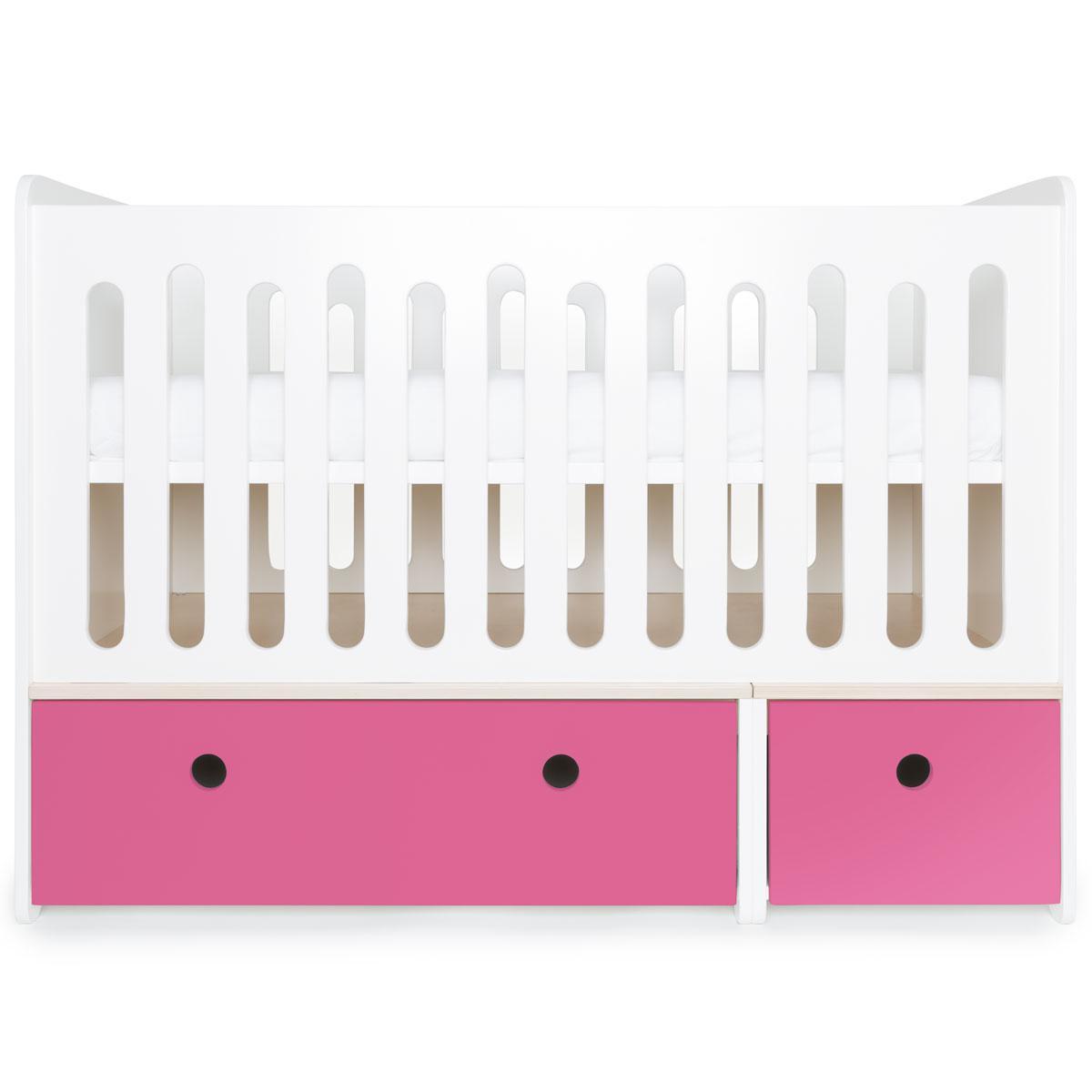 Lit bébé évolutif 70x140cm COLORFLEX pink