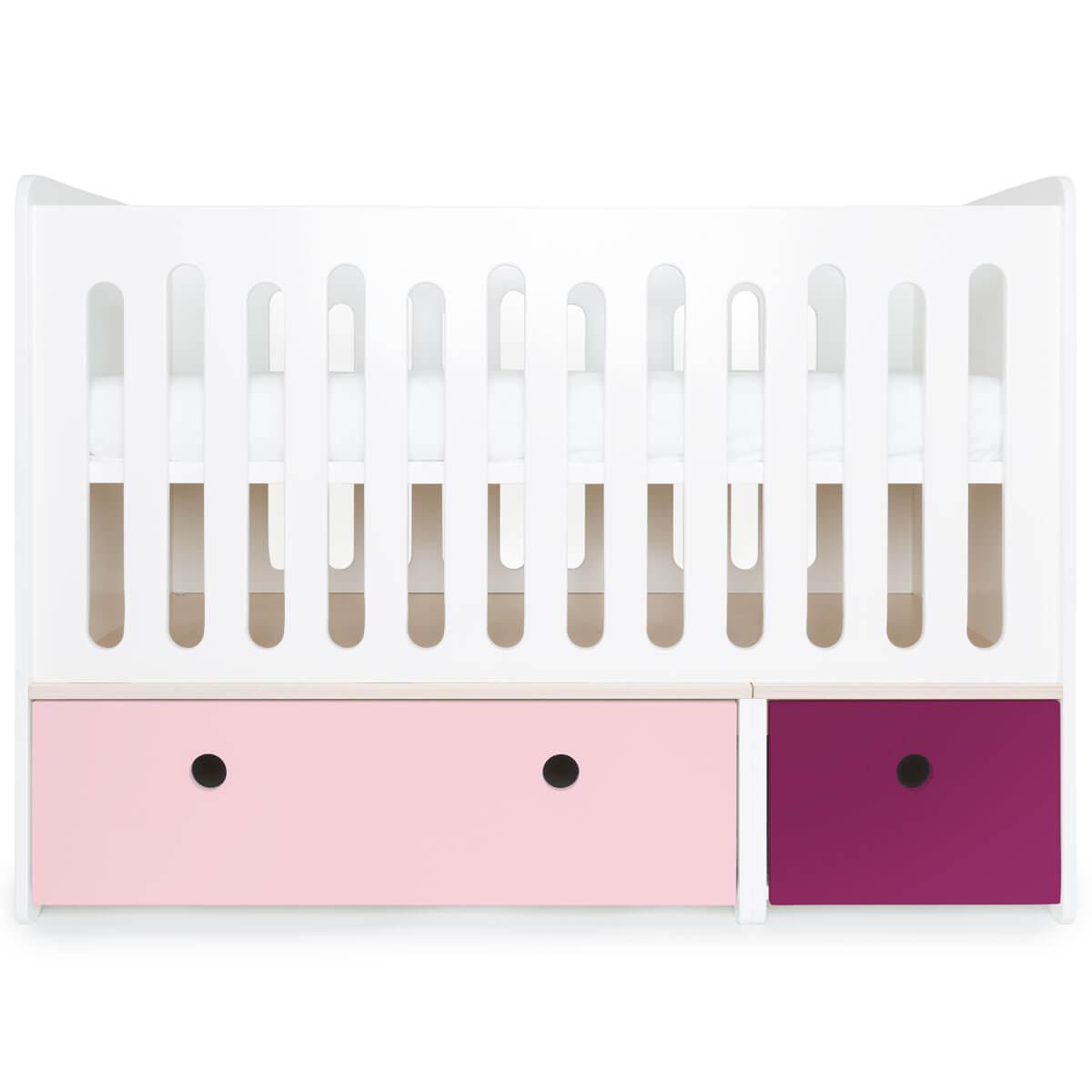 Lit bébé évolutif 70x140cm COLORFLEX sweet pink-plum