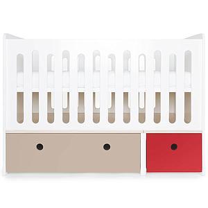 Lit bébé évolutif 70x140cm COLORFLEX warm grey-true red