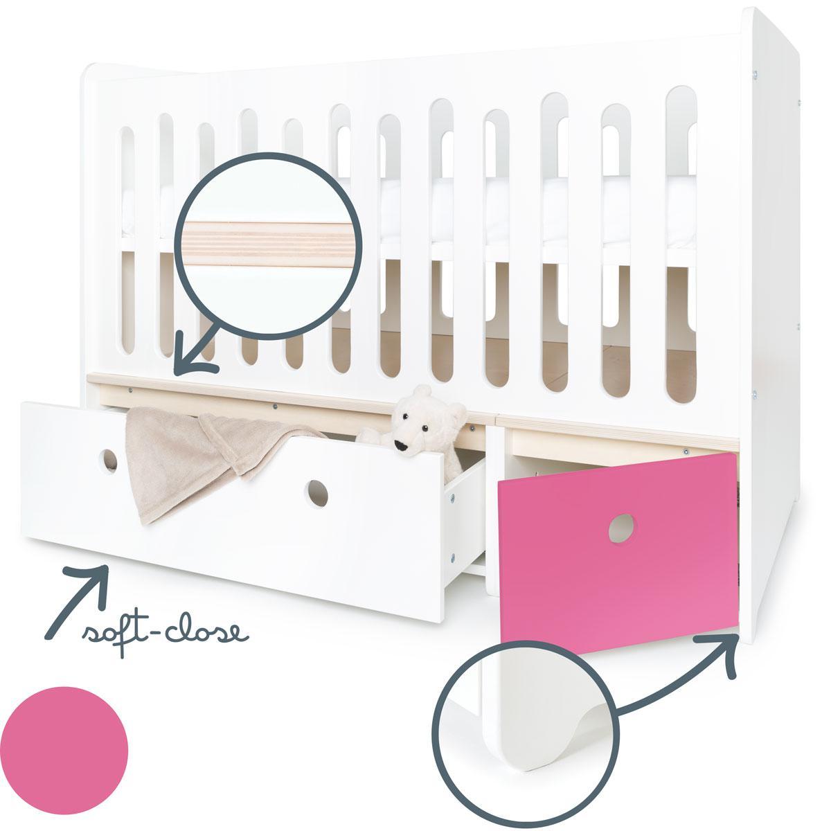 Lit bébé évolutif 70x140cm COLORFLEX white-pink