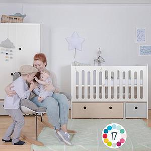 Lit bébé évolutif 70x140cm COLORFLEX white wash-mint