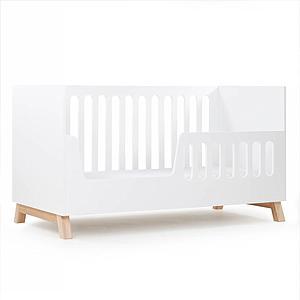 Lit bébé évolutif 70x140cm SARA Basiak MDF blanc et hêtre huilé