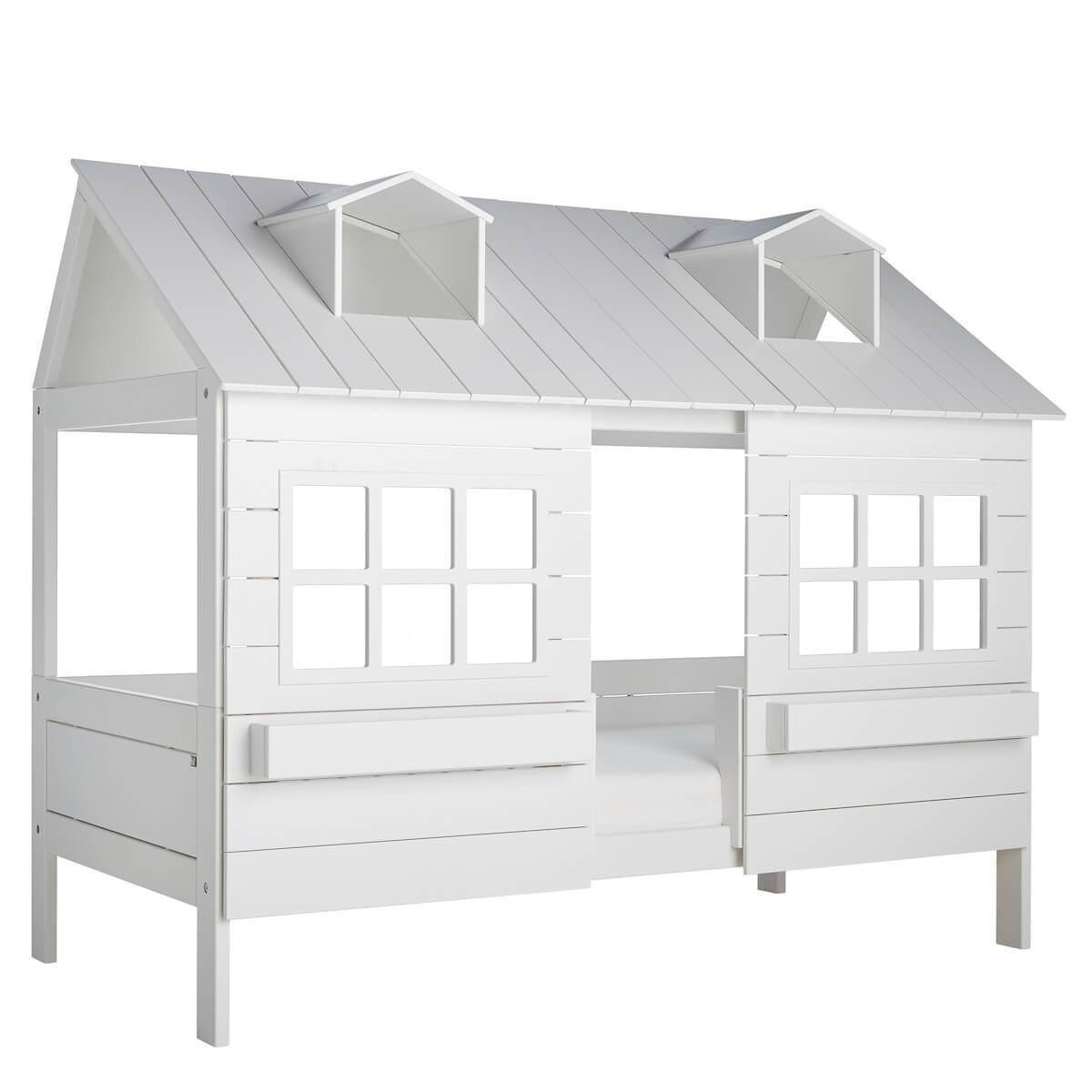 Lit cabane 90x200cm sommier LUXE LAKE HOUSE 1 Lifetime blanc
