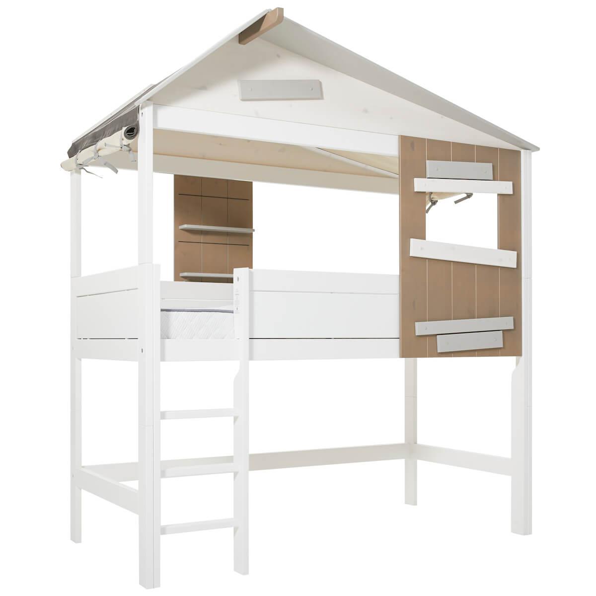 Lit cabane mi hauteur 90x200cm échelle THE HIDEOUT Lifetime blanc