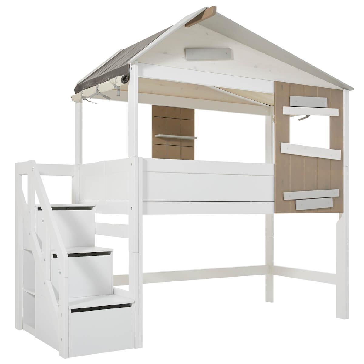 Lit cabane mi hauteur 90x200cm escalier THE HIDEOUT Lifetime blanc