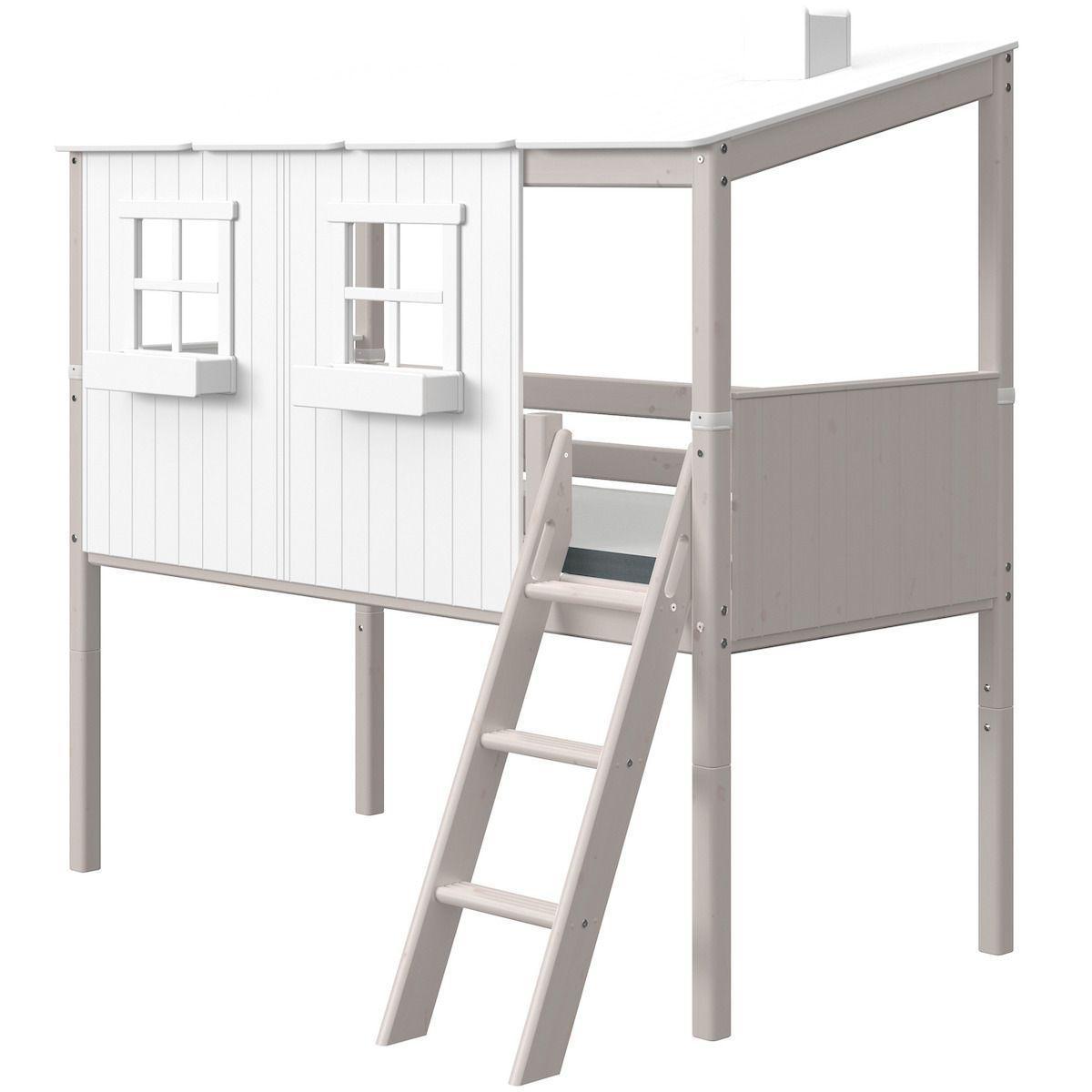 Lit cabane mi hauteur 90x200cm PLAY HOUSE CLASSIC Flexa blanc-grey washed