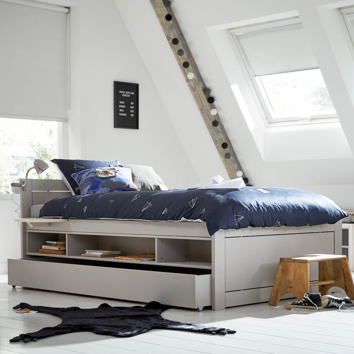 Lit de stockage pieds bas 120x200cm sommier luxe Lifetime blanchi