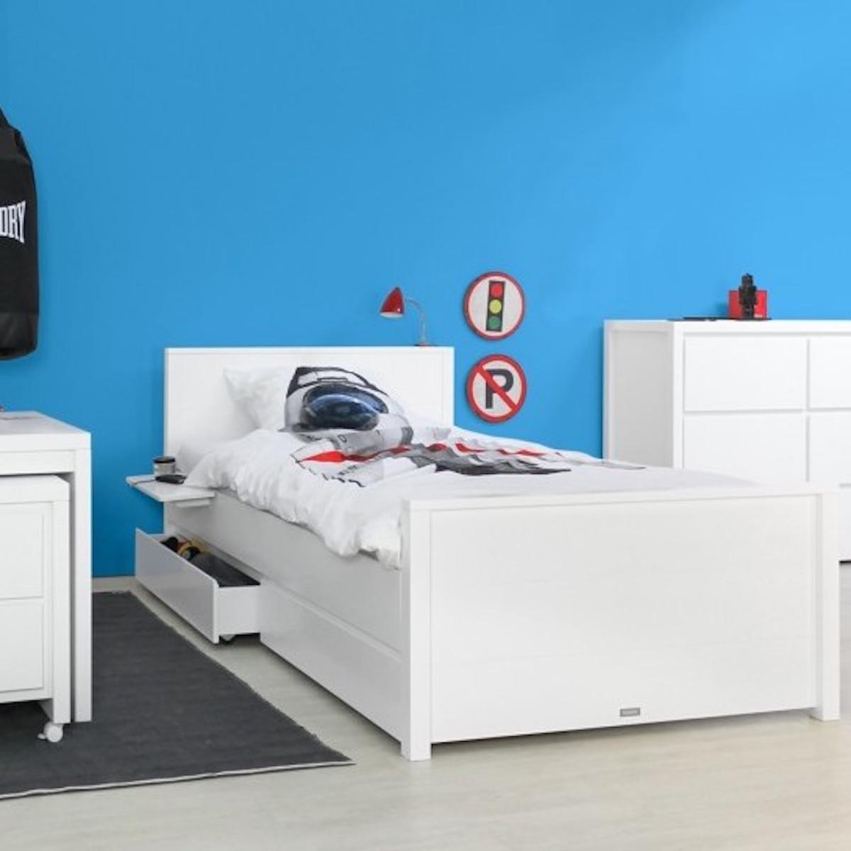 Lit enfant 120x200 cm tête de lit haute BOBBY Bopita blanc