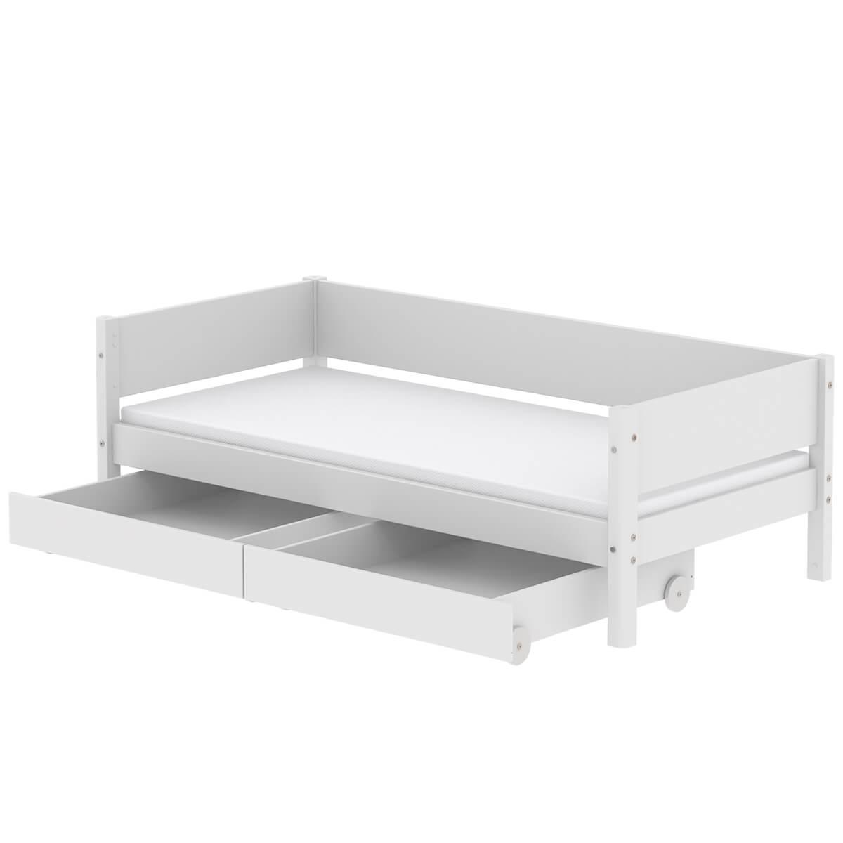 Lit enfant simple 90x200cm 2 tiroirs WHITE Flexa blanc