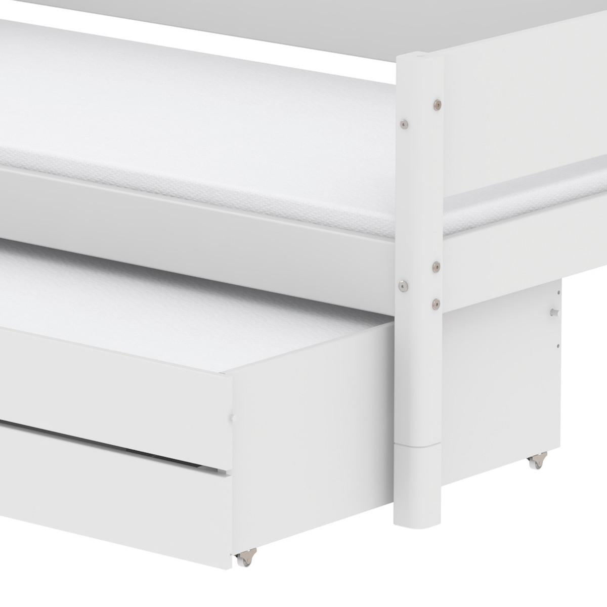 Lit enfant simple 90x200cm lit gigogne-2 tiroirs WHITE Flexa blanc
