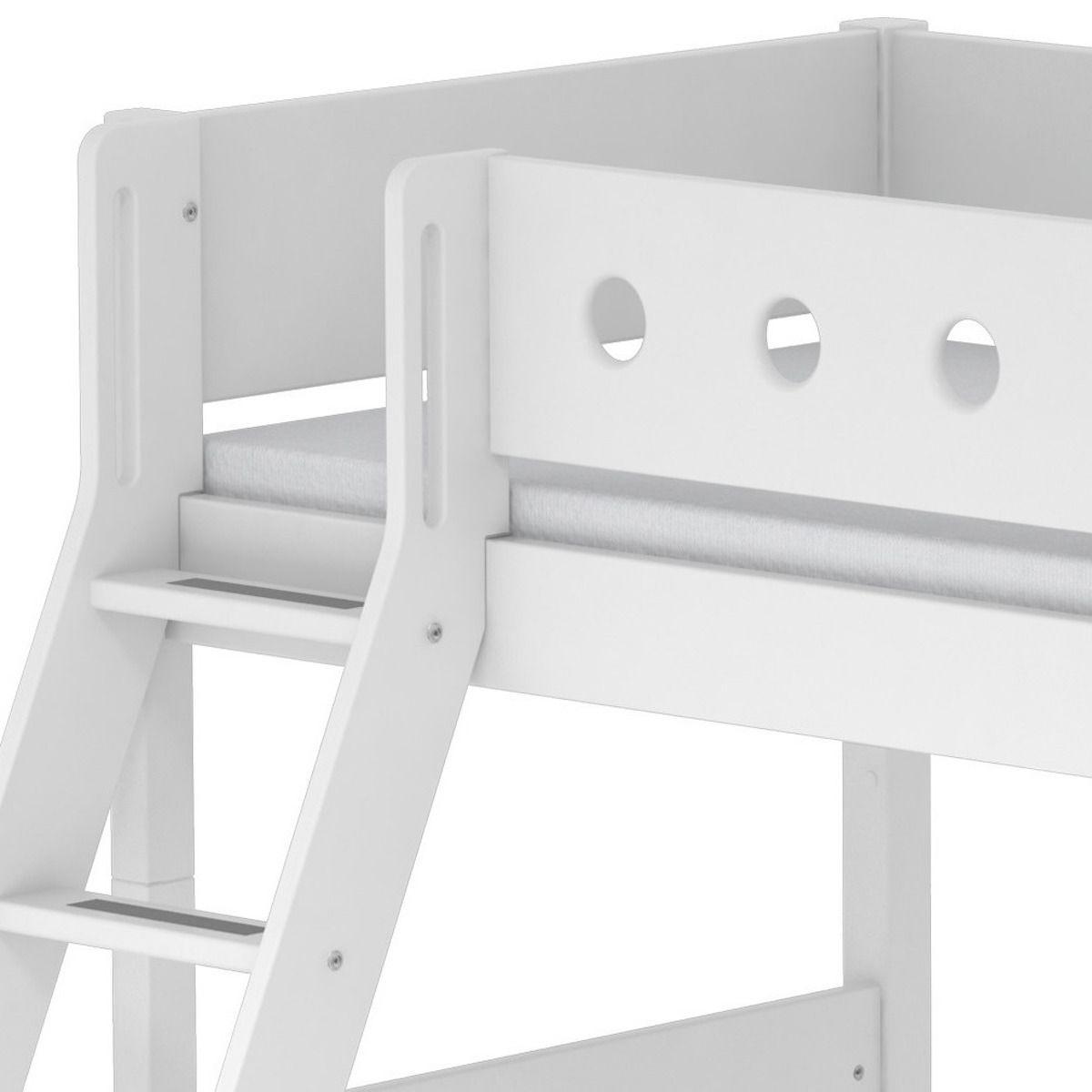 Flexa Enfant Échelle Surélevé Barrière Blancs Pieds Inclinée Lit Blanche White 90x190 fyIb7vY6g