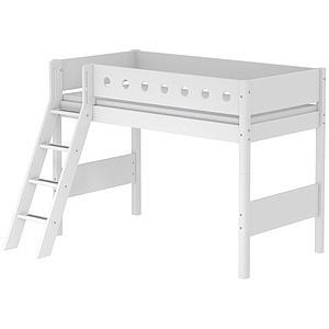 Lit enfant surélevé WHITE Flexa 90x190 échelle inclinée pieds blancs barrière blanche