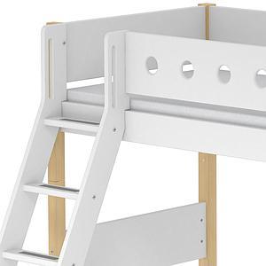 Lit enfant surélevé WHITE Flexa 90x190 échelle inclinée pieds bouleau barrière blanche
