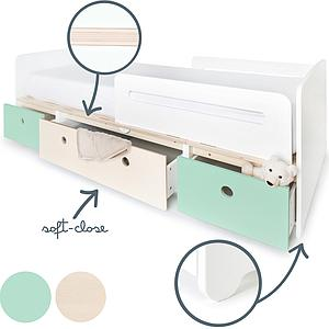 Lit évolutif 90x200cm COLORFLEX mint-white wash-mint