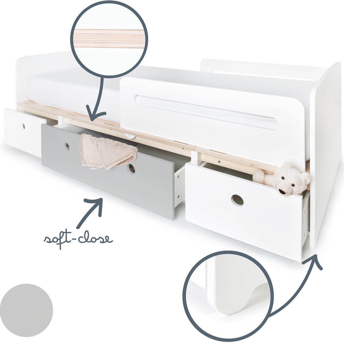 Lit évolutif 90x200cm COLORFLEX white-pearl grey-white