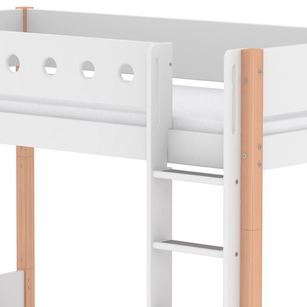 Lit évolutif enfant superposé 90x200 cm - échelle droite WHITE Flexa naturel - blanc