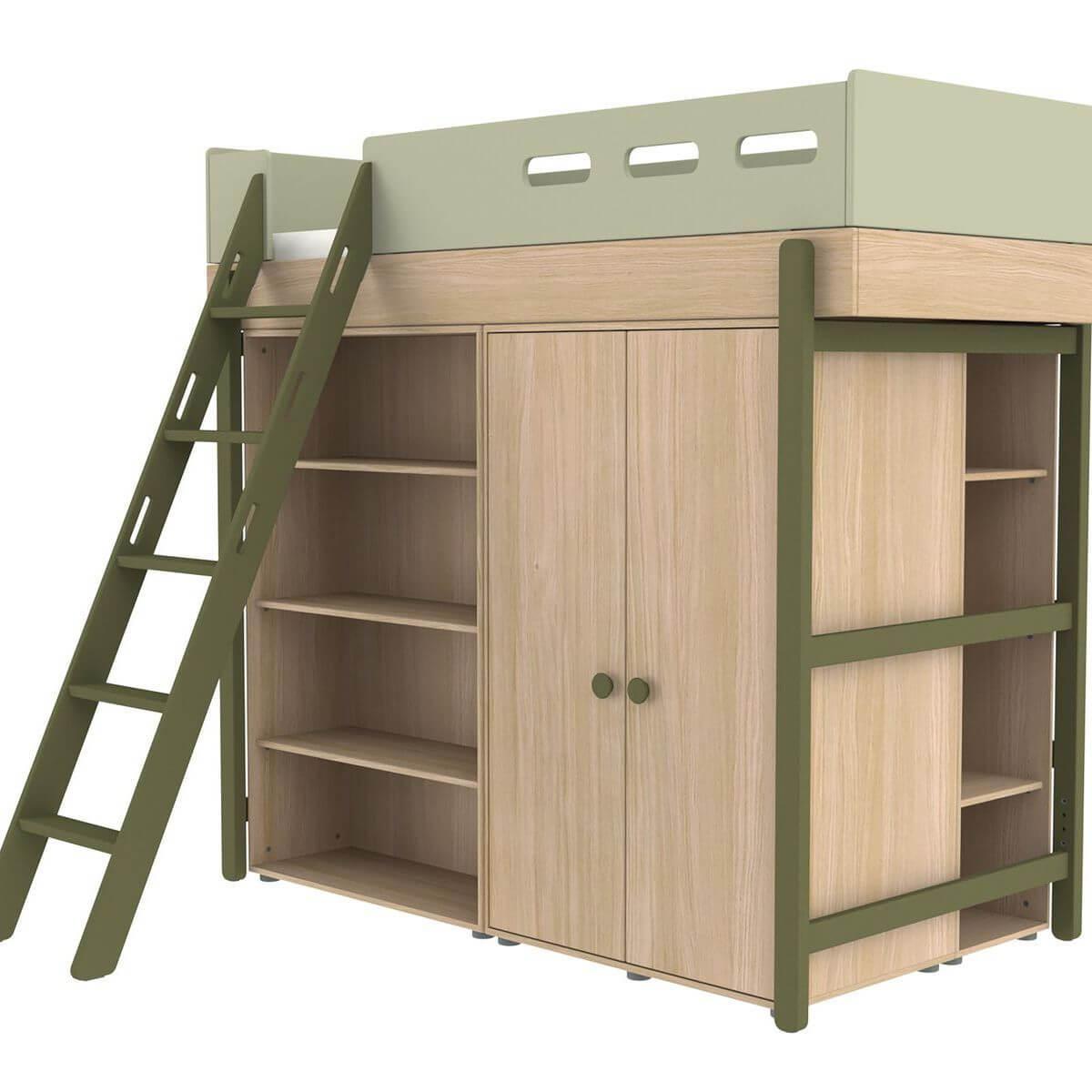 Lit évolutif mezzanine 90x200cm POPSICLE Flexa chêne-kiwi
