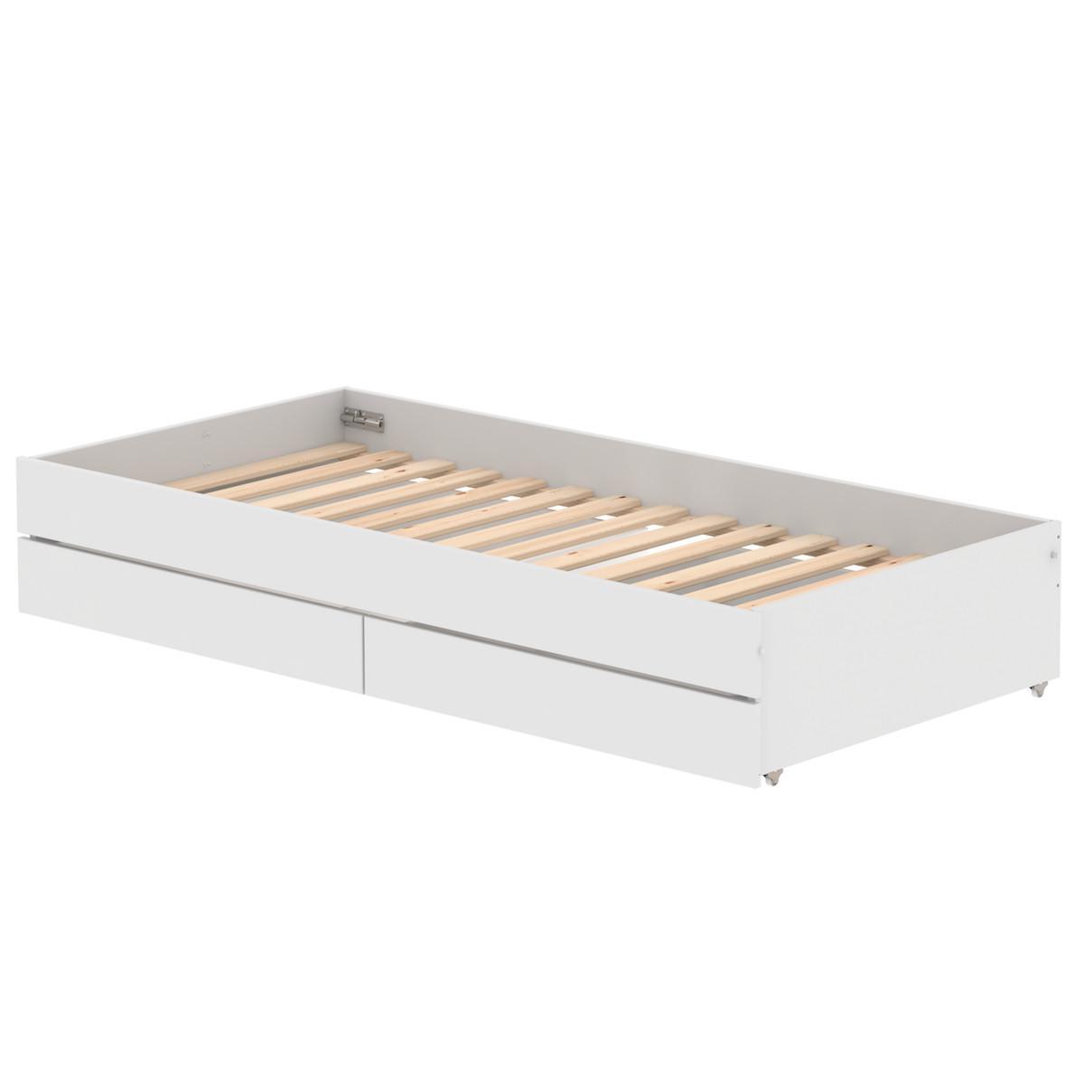 Lit gigogne-2 tiroirs 90x200cm WHITE Flexa blanc-naturel