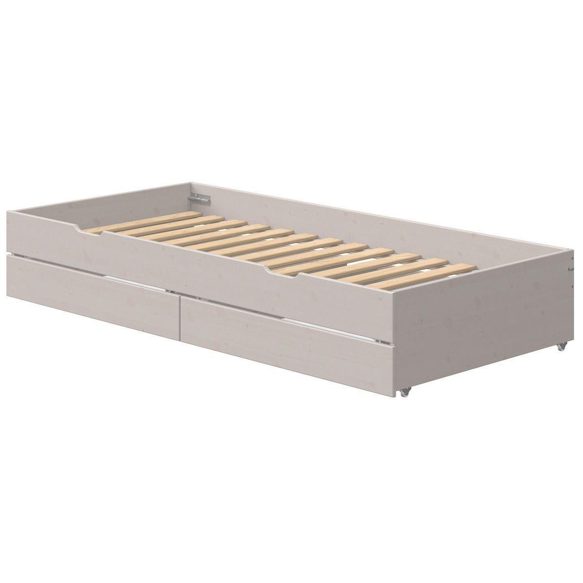 Lit gigogne 90x190cm 2 tiroirs lit bas CLASSIC Flexa grey washed