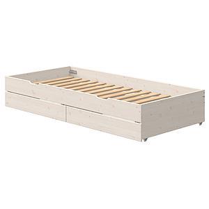 Lit gigogne 90x200cm 2 tiroirs lit bas CLASSIC Flexa blanchi