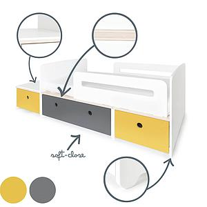 Lit junior évolutif 90x150/200cm COLORFLEX nectar yellow-space grey-nectar yellow