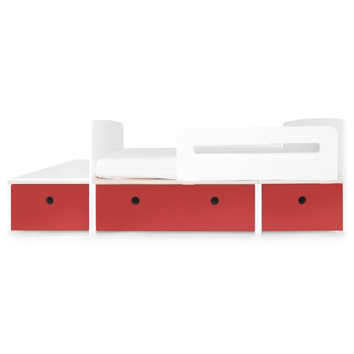 Lit junior évolutif 90x150/200cm COLORFLEX true red