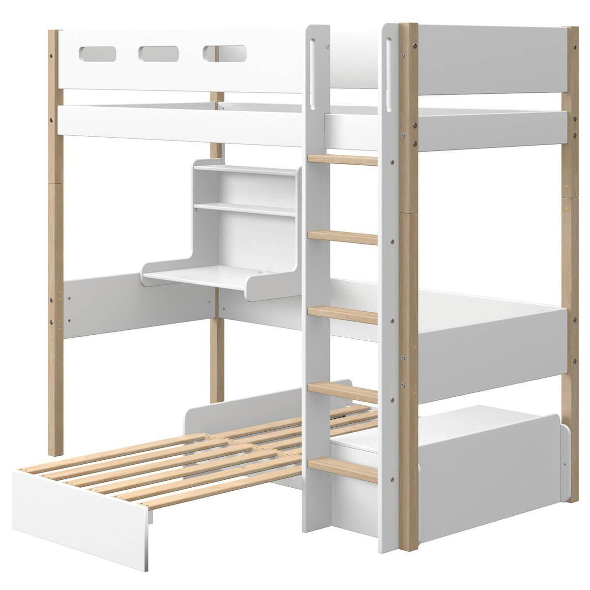Lit mezzanine 90x190cm bureau Click-On module de couchage casa NOR Flexa chêne-blanc