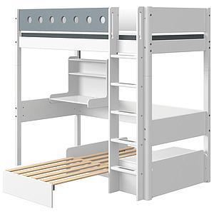 Lit mezzanine 90x190cm échelle droite bureau Click-On module de couchage casa WHITE Flexa blanc-light blue