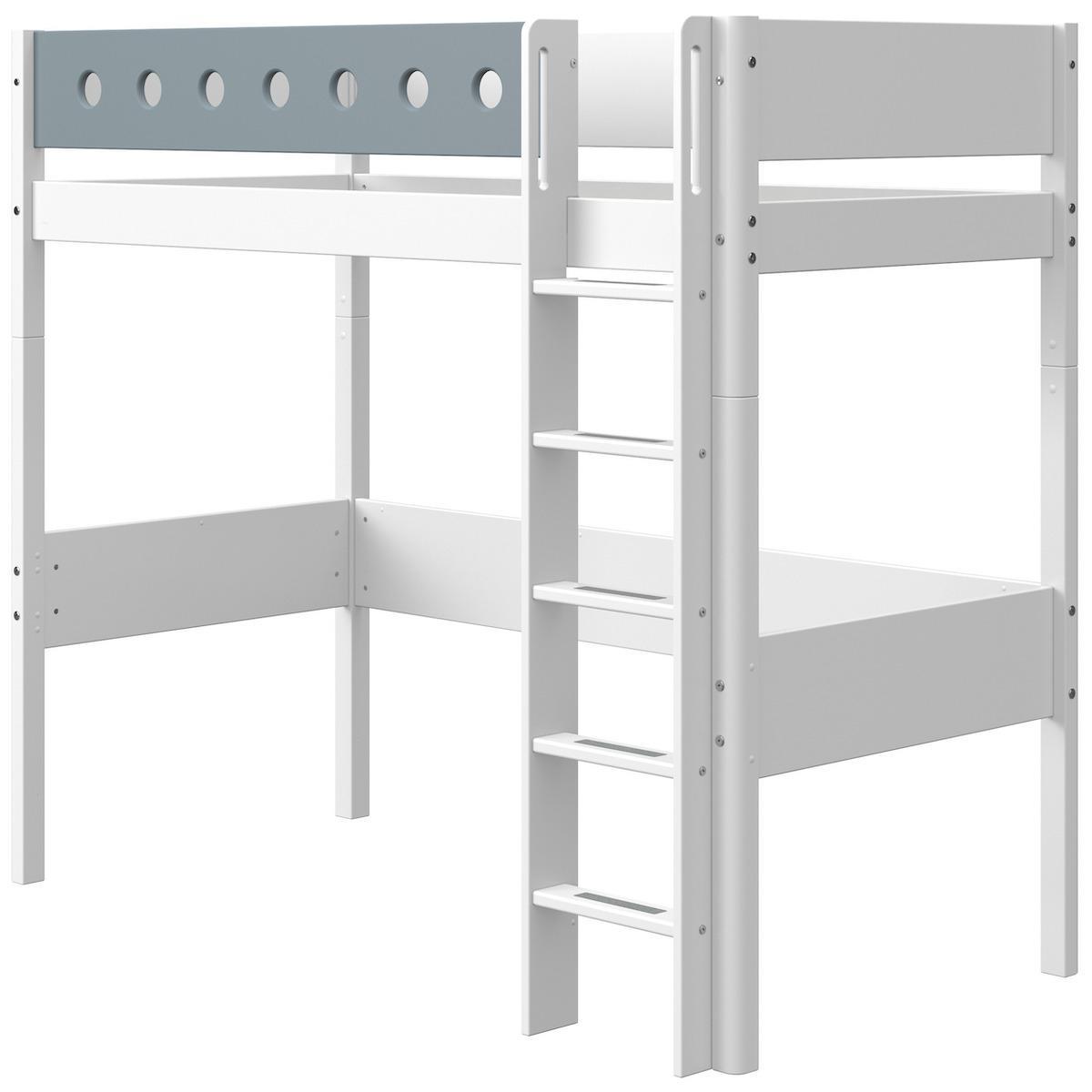 Lit mezzanine 90x190cm échelle droite WHITE Flexa blanc-light blue