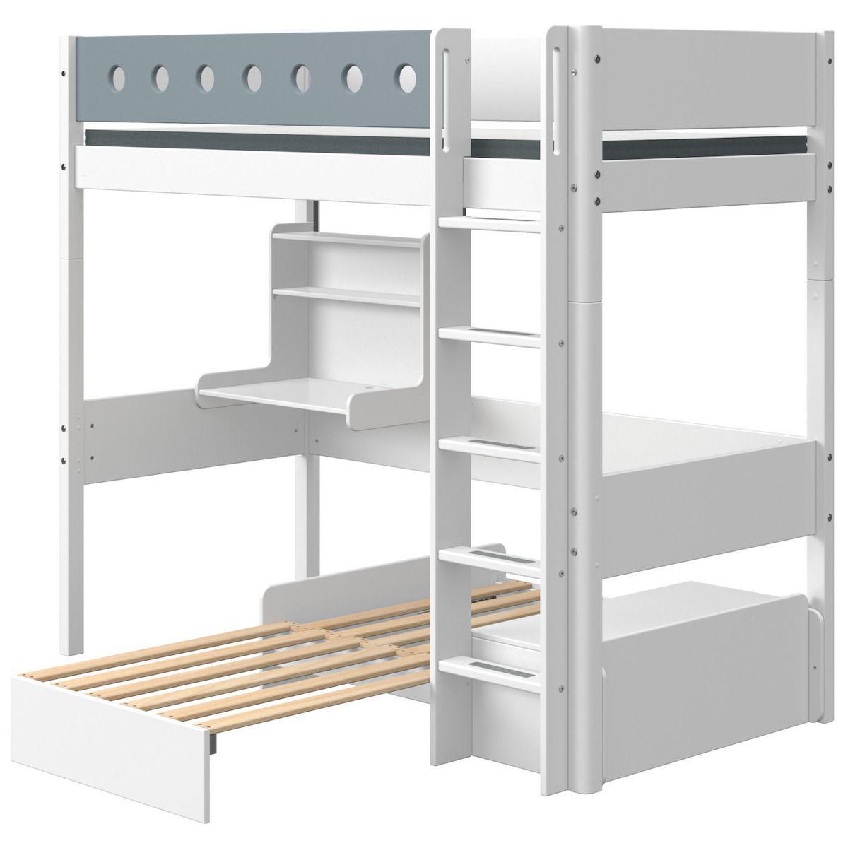 Lit mezzanine 90x200cm échelle droite bureau Click-On module de couchage casa WHITE Flexa blanc-light blue