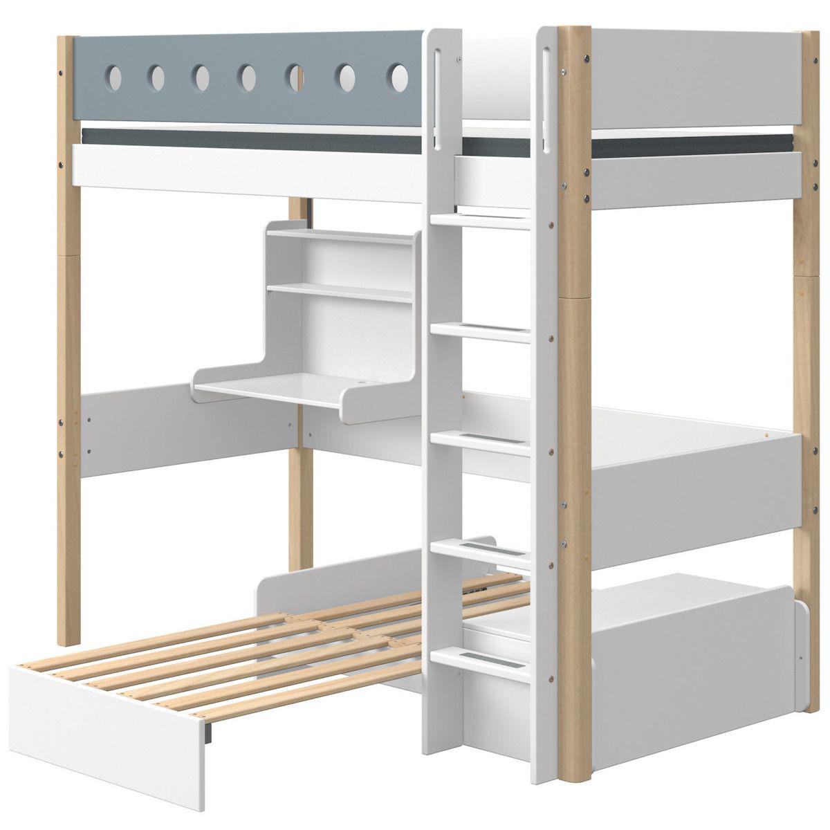 Lit mezzanine 90x200cm échelle droite bureau Click-On module de couchage casa WHITE Flexa naturel-light blue