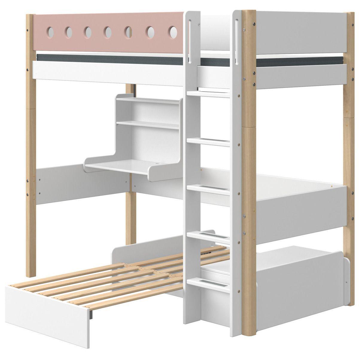 Lit mezzanine 90x200cm échelle droite bureau Click-On module de couchage casa WHITE Flexa naturel-light rose
