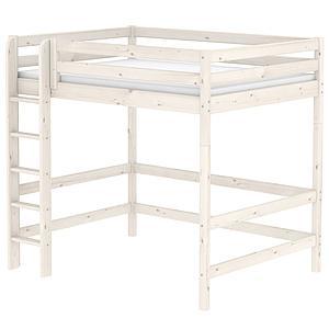 Lit mezzanine enfant 140x190 CLASSIC FLEXA échelle droite blanchi