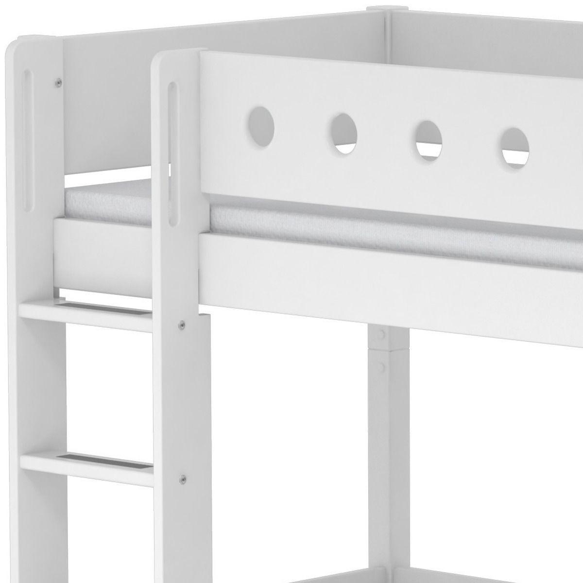 Lit mezzanine enfant 90x190 WHITE Flexa avec barrière blanche, pied blanc, module de couchage, bureau click-on
