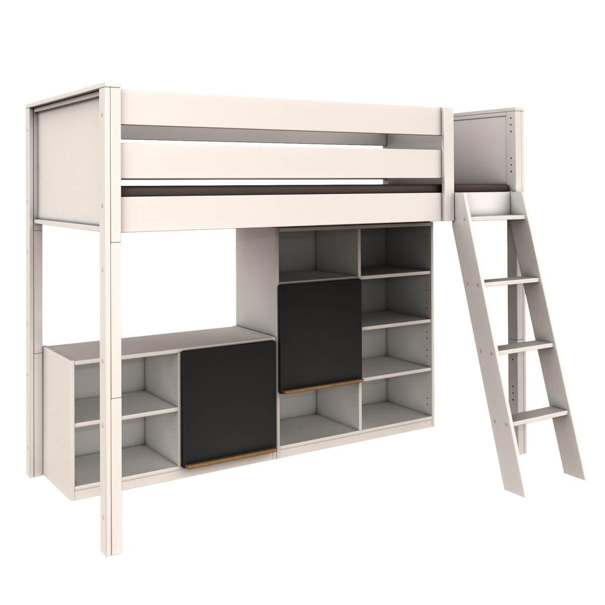 Lit mezzanine étagère haute KASVA hêtre massif laqué blanc