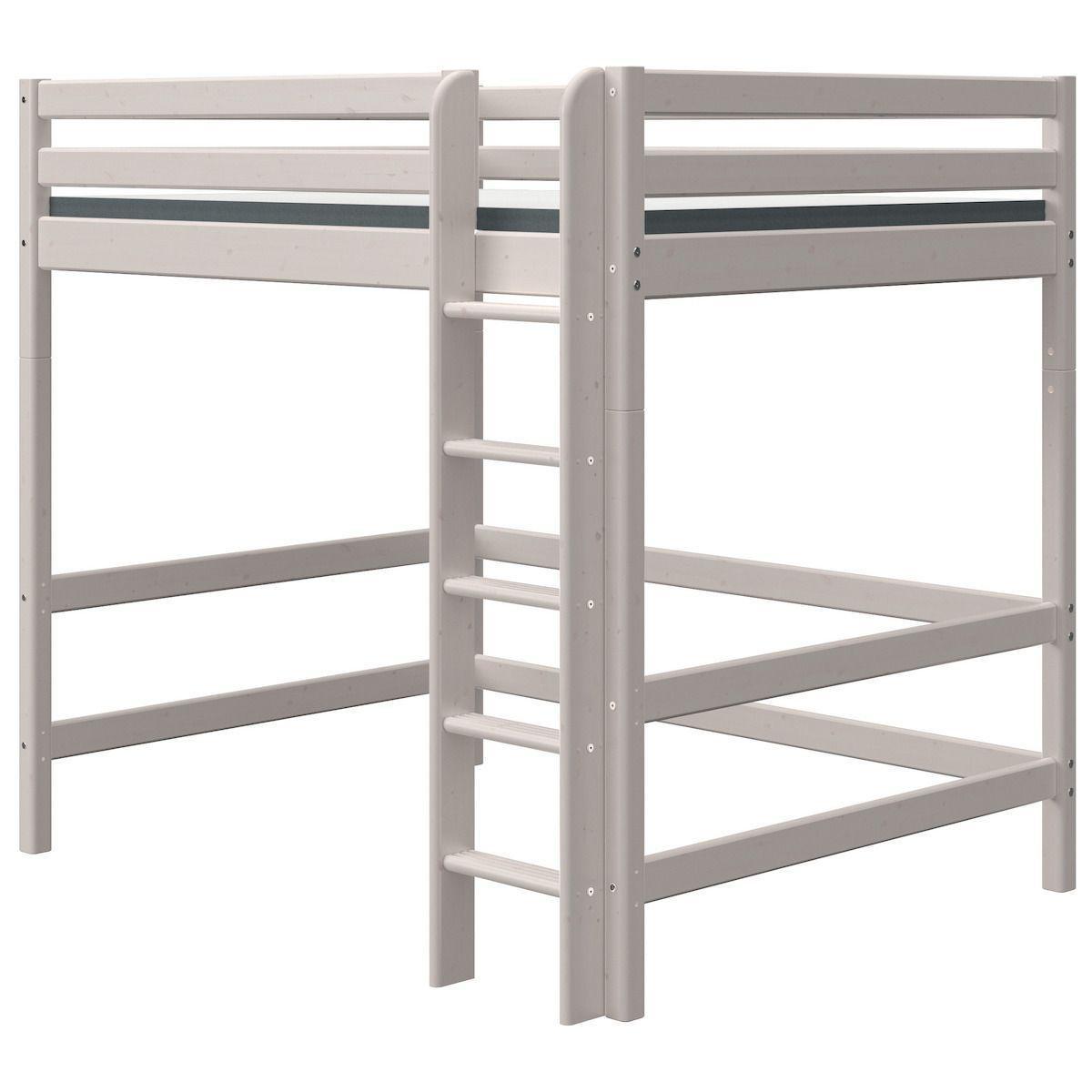 Lit mezzanine haut 140x190cm échelle droite CLASSIC Flexa grey washed