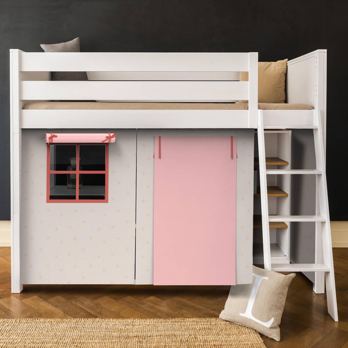 Lit mezzanine KASVA avec textiles Viena pink