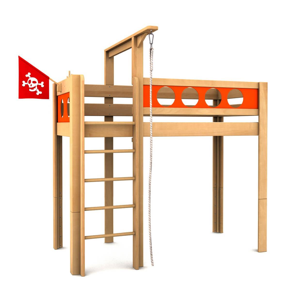 Lit mezzanine Pirat DELUXE de Breuyn bois huilé-orange