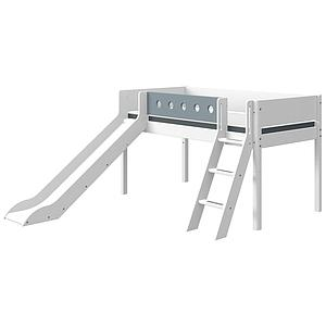 Lit mi hauteur 90x190cm échelle inclinée toboggan WHITE Flexa blanc-light blue