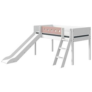Lit mi hauteur 90x190cm échelle inclinée toboggan WHITE Flexa blanc-light rose