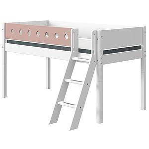 Lit mi hauteur 90x190cm échelle inclinée WHITE Flexa blanc-light rose