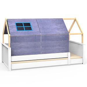 Lit montessori barrière simple cabane KASVA avec textiles Bobble green-blue
