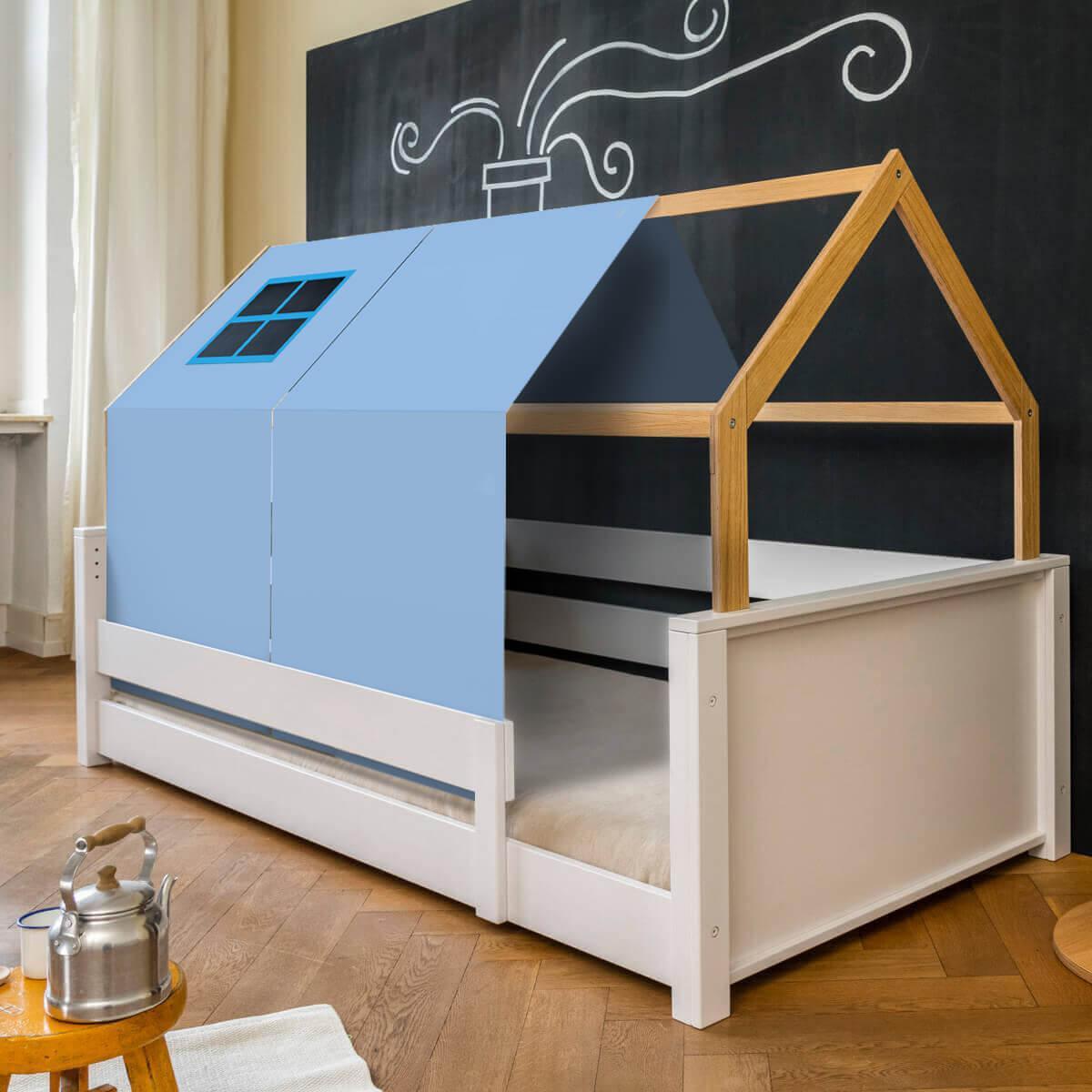 Lit montessori barrière simple cabane KASVA avec textiles Viena green-blue