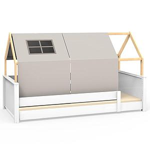 Lit montessori barrière simple cabane KASVA avec textiles Viena grey